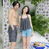 It is short pants holder neck hips thigh mom swimsuit fashion chubby white black horizontal stripes for 20 generations for size figure cover swimsuit 40 generations which sea pool resort adult having a cute 2018 new work four points set swimsuit S/M/L/LL