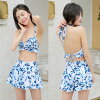 Floral design pastel color short pants holder neck hips thigh mom swimsuit fashion chubby ribbon knitting includes 2018 new work four points set swimsuit S/M/L/LL see-through off shoulder for 20 generations for size figure cover swimsuit 30s 40 generatio