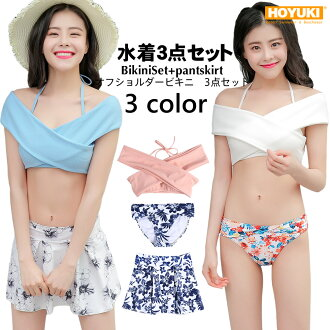 2018 new work swimsuit Lady's bikini three points set S/M/L off shoulder bikini floral design tropical child figure cover hips cover mom orange red frill skirt high waists of the plain fabric beach resort woman that lifting bust sexy is pretty in the sum