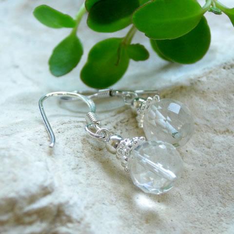 パワーストーン ヒマラヤ 水晶 多面カットシンプルピアス ノンホールピアス パワ−スト−ン クリスタル (Crystal) 水晶 (すいしょう) 天然石 水晶メンズ レディース 癒し 浄化 幸運 天然石 天然石ピアスギフト レディース
