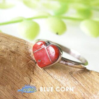インディアンジュエリーリングアクセサリーズニ group red Coral silver 925 inlay work Lady's lucky charm good luck good luck talisman against evil native American native accessories Indian jewelry accessories are pretty; is pretty