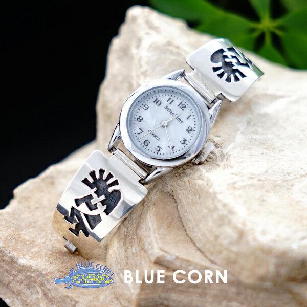 インディアンジュエリー シルバー925 ココペリバングル ウォッチ ナバホ レディース お守り 幸運 魔除け ネイティブアメリカン ネイティブアクセサリー アメリカインディアン スタンプワーク インレイワーク ハンドメイドアクセサリー 文字盤 腕時計