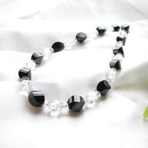 パワーストーン ナツメカットの オニキス & 水晶 ネックレス 天然石 水晶メンズ レディース 癒し 浄化 幸運 天然石