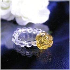 パワーストーン 薔薇のパワーストーンリングシトリン パワ−スト−ン 天然石 水晶メンズ レディース 癒し 浄化 幸運 天然石