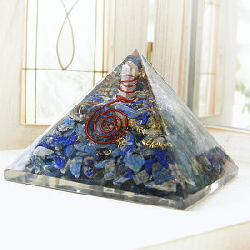 置くだけでパワースポットになる! ヒマラヤ水晶ポイント入り ラピスラズリ オルゴナイト ピラミッド パワ−スト−ン 天然石 水晶メンズ レディース 癒し 浄化 幸運 天然石
