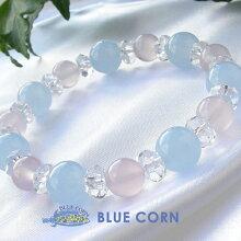パワーストーン天然石ブレスレットブルーカルセドニーピンクカルセドニー水晶