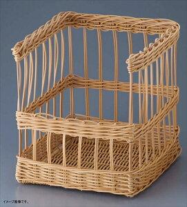 フランスパン スタンド かご 角 大 前開き ディスプレー パン用 食洗機対応 樹脂 ブラウン 約35×40×40cm 91-109B