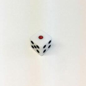 アクリルホワイトダイス 6面体赤目(約12mm)100個セット