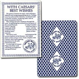 ビー・カジノホテルカード ポーカーサイズ-CAESARS PALACE- 青 (メッセージ付きボックス)〜特別に未使用の状態で日本に輸入されたレアカジノトランプ!〜