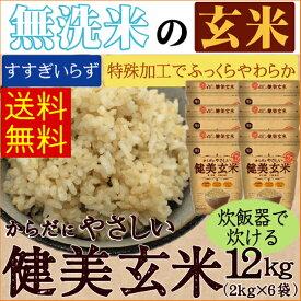 【250円クーポン】家族みんなで食べられる食べやすい玄米★無洗米 からだにやさしい健美玄米 12kg(2kg×6袋) 30年産[送料無料]食味ランク特A やさしい玄米[北海道沖縄へは別途送料740円]