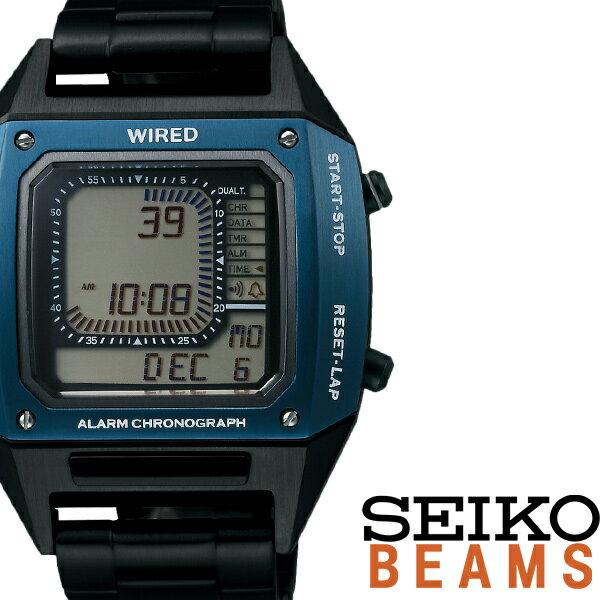 【5年保証対象】セイコー ワイアード デジボーグ BEAMSプロデュース BASEL限定モデル 時計 SEIKO 腕時計 WIRED メンズ グレー AGAM701 新作 人気 正規品 ブランド 防水 デジタル ワイヤード メタル ブラック 送料無料