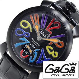 [あす楽]ガガミラノ 腕時計 GaGa MILANO 時計 マヌアーレ [ MANUALE ] 48MM スイスメイド PVD SWISSMADE ブラック メンズ レディース 5012-3S [ 人気 ][ プレゼント ギフト 2019 ]