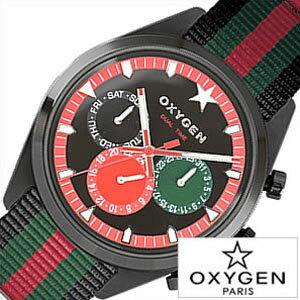 オキシゲン腕時計 OXYGEN時計 OXYGEN 腕時計 オキシゲン 時計 スポーツ ディーティー ローマ マルチファンクション Sport DT Roma 40 メンズ レッド ブラック グリーン ROM-40-BLGNRE アナログ おしゃれ 黒 緑 赤 6針 送料無料 プレゼント ギフト 祝い
