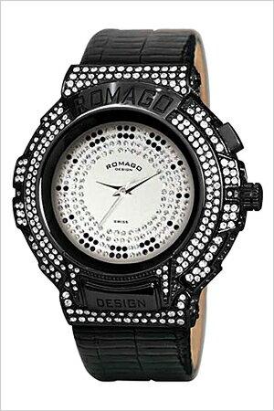 [送料無料]ロマゴデザイン腕時計[ROMAGODESIGN時計](ROMAGODESIGN腕時計ロマゴデザイン時計)トレンドシリーズ(Trendseries)メンズレディースユニセックス/シルバー/RM025-0256ST-BKBK[アナログクリスタル/ストーンミラーウォッチブラック黒/銀3針]