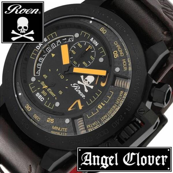 【5年延長保証】 エンジェルクローバー [ Angel Clover 時計 ] タイムクラフト [ TIME CRAFT ] メンズ ブラック TC48ROY2 [ ロエン コラボ ROEN 黄 革ベルト ミリタリー レア ]