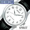 精工手表SEIKO钟表SEIKO手表精工钟表精神SPIRIT人白SCXP033[皮革皮带限定防水黑色银子简单的一对型号]