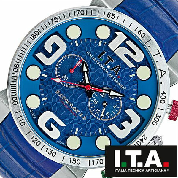 【5年保証対象】アイティーエー 腕時計 I.T.A. 腕時計 アイティーエー 時計 I.T.A. 時計 ITA ITA腕時計 ITA時計 ビーコンパックス B.COMPAX 2 メンズ ブルー 18.00.03 革 ベルト クロノグラフ 正規品 イタリア ブランド ファッション ウォッチ 送料無料