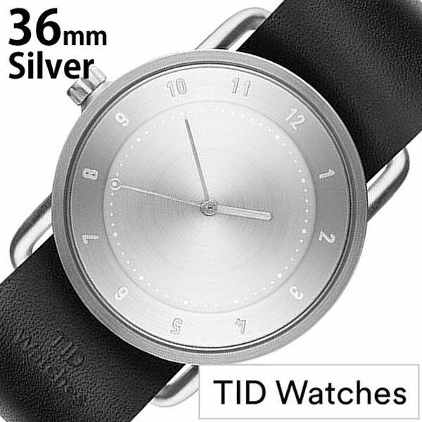 【正規品】 ティッドウォッチズ 腕時計 TID Watches 時計 レディース シルバー TID02-SV36-BK [ 革 ベルト おしゃれ 替え 北欧 アナログ ブラック シルバー ]