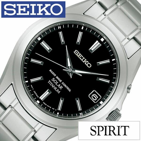 【正規品】 セイコー 腕時計 SEIKO 時計 スピリット SPIRIT メンズ ブラック SBTM217 [ メタル ベルト 防水 ソーラー 電波 シルバー チタン プレゼント ]