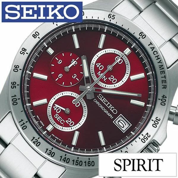 【5年保証対象】セイコー 腕時計 SEIKO 時計 SEIKO SPIRIT 腕時計 セイコー スピリット 時計 メンズ レッド SBTR001 メタル ベルト クロノグラフ シルバー ギフト 送料無料[デー ギフト 彼氏 旦那 夫 息子 ]