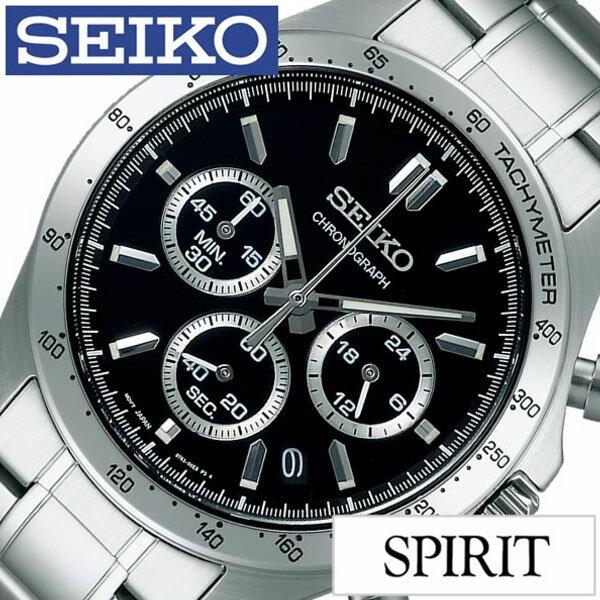 【5年保証対象】セイコー 腕時計 SEIKO 時計 SEIKO SPIRIT 腕時計 セイコー スピリット 時計 メンズ ブラック SBTR013 メタル ベルト クロノグラフ シルバー ギフト 送料無料[デー ギフト 彼氏 旦那 夫 息子 ]