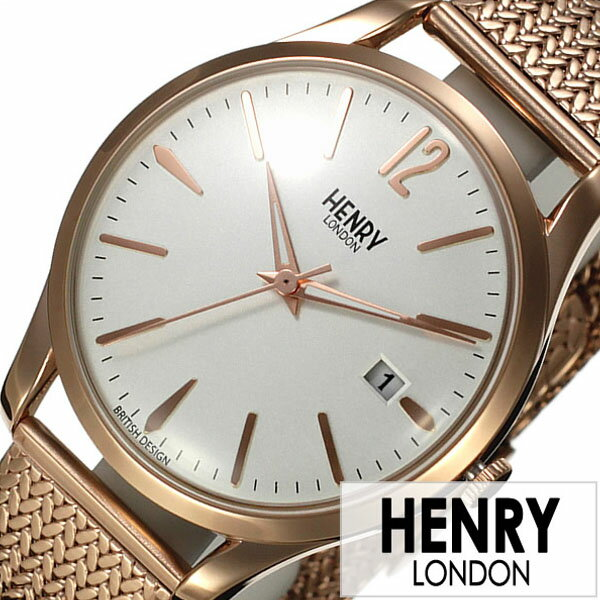ヘンリーロンドン 腕時計 HENRYLONDON 時計 ヘンリー ロンドン 時計 HENRY LONDON 腕時計 リッチモンド RICHMOND メンズ レディース ホワイト HL39-M-0026 [ ブランド イギリス 防水 シンプル メタル ベルト メッシュ ピンクゴールド 腕時計 レディース ]