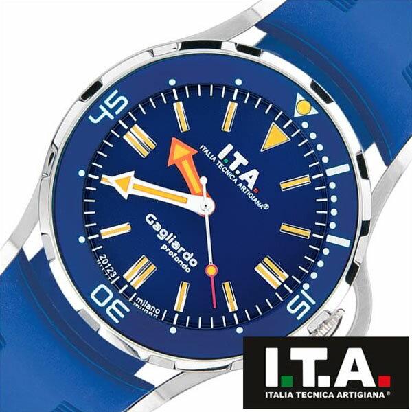 【5年保証対象】アイティーエー 腕時計 I.T.A. 時計 アイティーエー 時計 I.T.A. ITALIA TECNICA ARTIGIANA 腕時計 ガリアルド Gagliardoprofondo メンズ ブルー 24.01.04 イタリア ミラノ 3Dインデックス 立体インデックス ビッグフェイス ラバー 送料無料