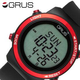 グルス 腕時計 GRUS 時計 歩幅がはかれるウォーキングウォッチ ユニセックス メンズ レディース 液晶 GRS001-01 [ 人気 ブランド おすすめ ウォーキング スポーツ 歩数計測 ランニング デジタル カレンダー ストップウォッチ プレゼント ギフト ]