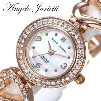 安杰洛Jurietti手表[Angelo Jurietti钟表]Angel[手表女子的可爱的微型普拉]AJ4041-PG[喜爱粉红黄金玩笑的名牌皮革皮带皮革手镯生活防水小孩]
