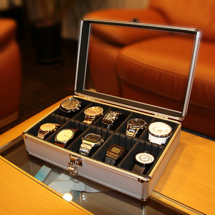 【腕時計 10本 収納】時計ケース 腕時計収納 ケース 腕時計 収納 整理 ボックス 時計 コレクション メンズ レディース SE-54020AL [ ディスプレイ ウォッチケース 腕時計ケース 収納ケース コレクションボックス 1本 2本 3本 4本 5本 自動巻き 機械式 アルミ ガラス ]