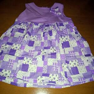 ハンドメイド 手作り スカート ワンピース パッチワーク 紫 子供 キッズ baby 女の子 可愛い プレゼント 洋服 服 90