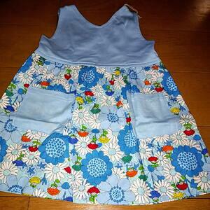 ハンドメイド 手作り スカート ワンピース 花 水色 子供 キッズ baby 女の子 可愛い プレゼント 洋服 服 90 2way
