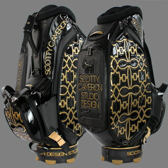 2 ♦ Titleist Scotty Cameron 2015 staff big Scotty Dog Pattern Studio Design Black/Gold / Titleist Scotty Cameron golf bag