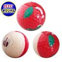 ゴルフコンペ 景品 リンゴ ゴルフボール 3球セット (全面プリントボール) HTCオリジナル