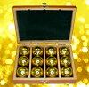 6 ♦ 與金屬高爾夫球球豪華木制的盒子和黃金 (黃金) 一打 12 球 FLYGADR GD4 高松志門臨推薦