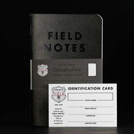【限定】FIELD NOTES フィールドノートメモブック 3-PACKS CLANDESTINE