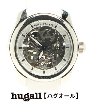 フォリフォリラバーベルト self-winding watch white X skeleton clockface watch Folli Follie men