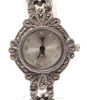钻石925 615421Y石英瑕疵12P列车时间表手表银子Diamond女士