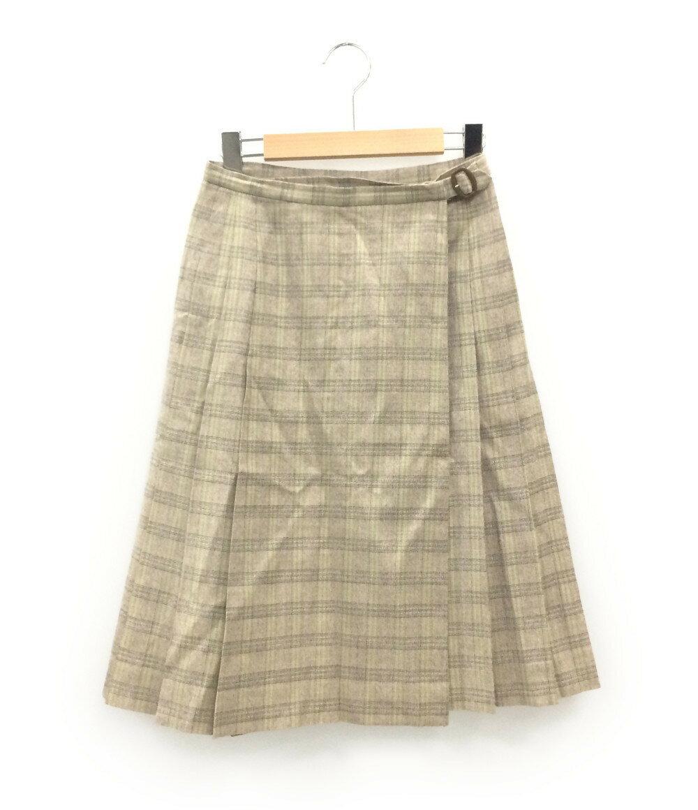 クミキョク SIZE 2 (M) チェック柄 ラップスカート KUMIKYOKU レディース【中古】