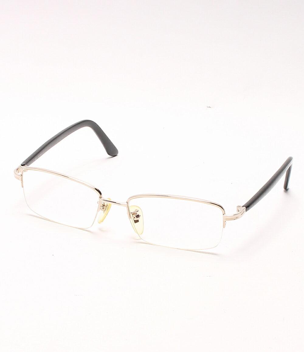 美品 ダンヒル K18YG K14YG ハーフリム スクエア ブラック(マーブル) 度入りメガネ 眼鏡 Dunhill メンズ 【中古】