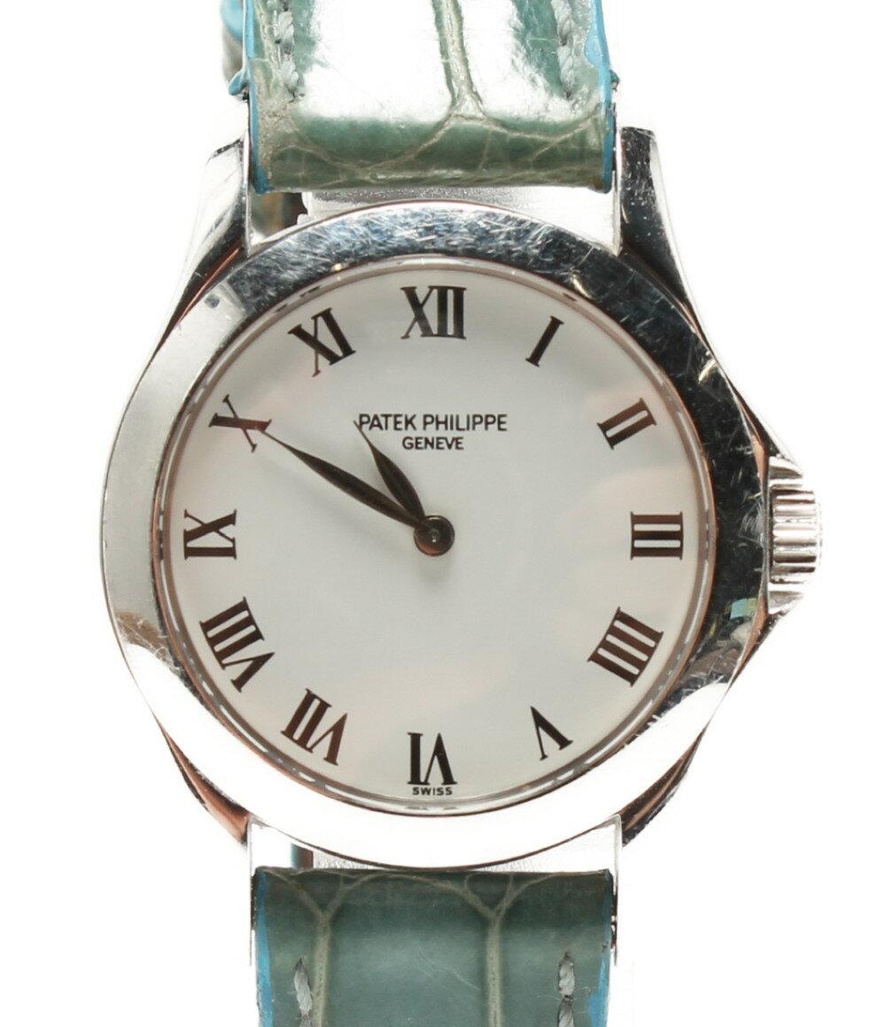 パテックフィリップ 腕時計 カラトラバ 4905G-001 手巻き ホワイト ローマインデックス PATEK PHILIPPE レディース 【中古】