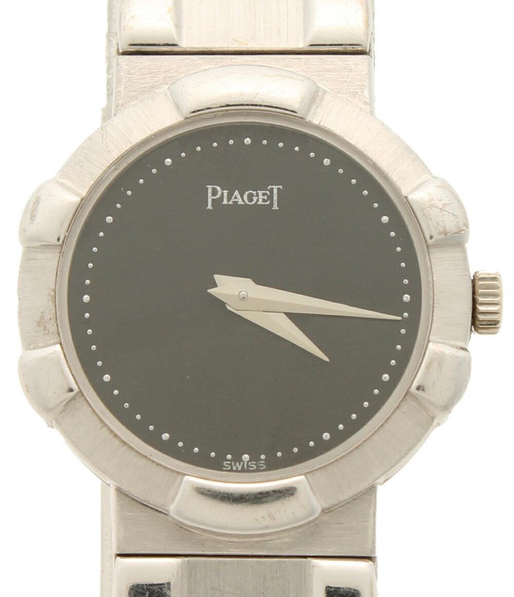 ピアジェ 8601C581 クォーツ WG K18 腕時計 ブラック文字盤 PIAGET レディース 【中古】