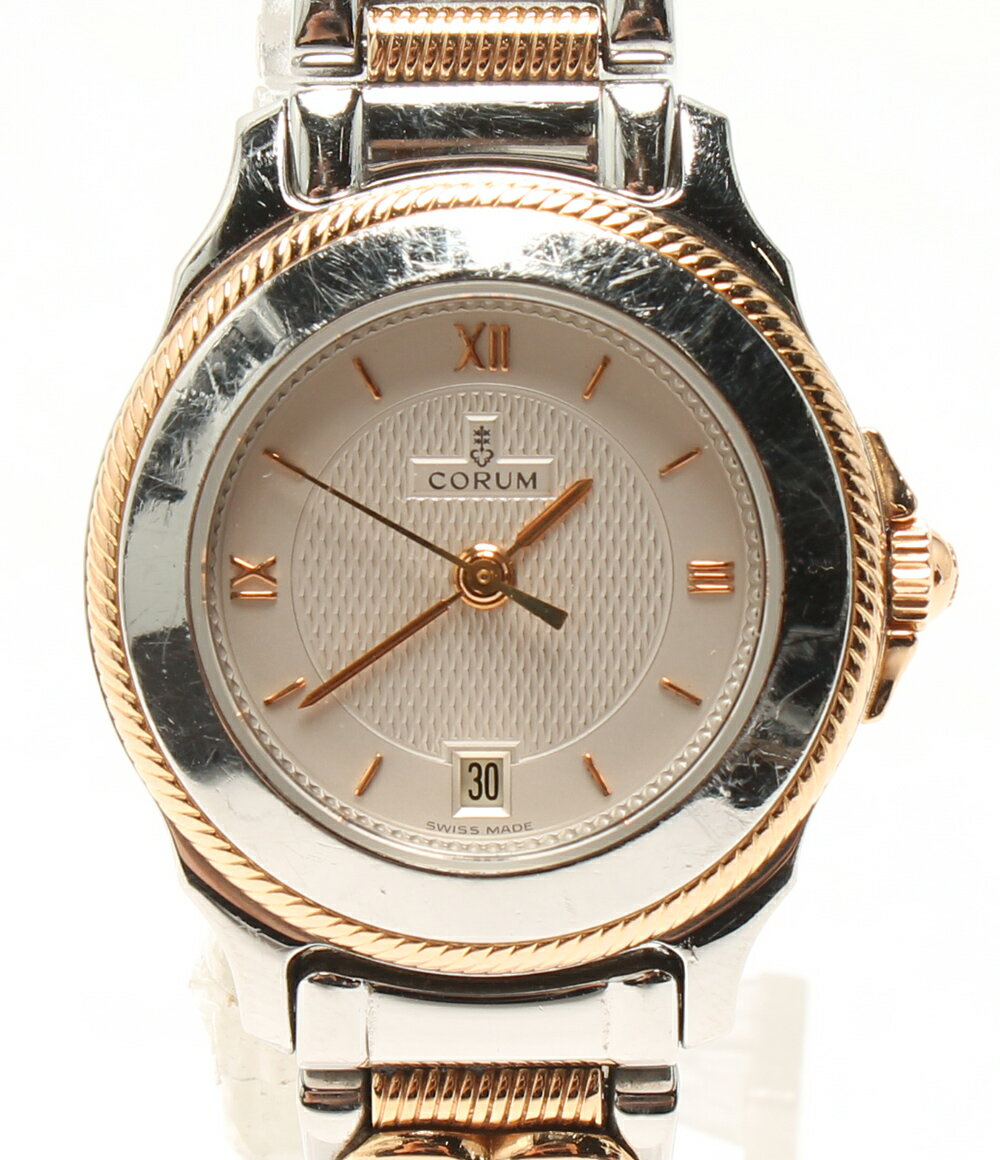 コルム 39.311.24 クォーツ 3Pダイヤ 腕時計 シルバー文字盤 CORUM レディース 【中古】