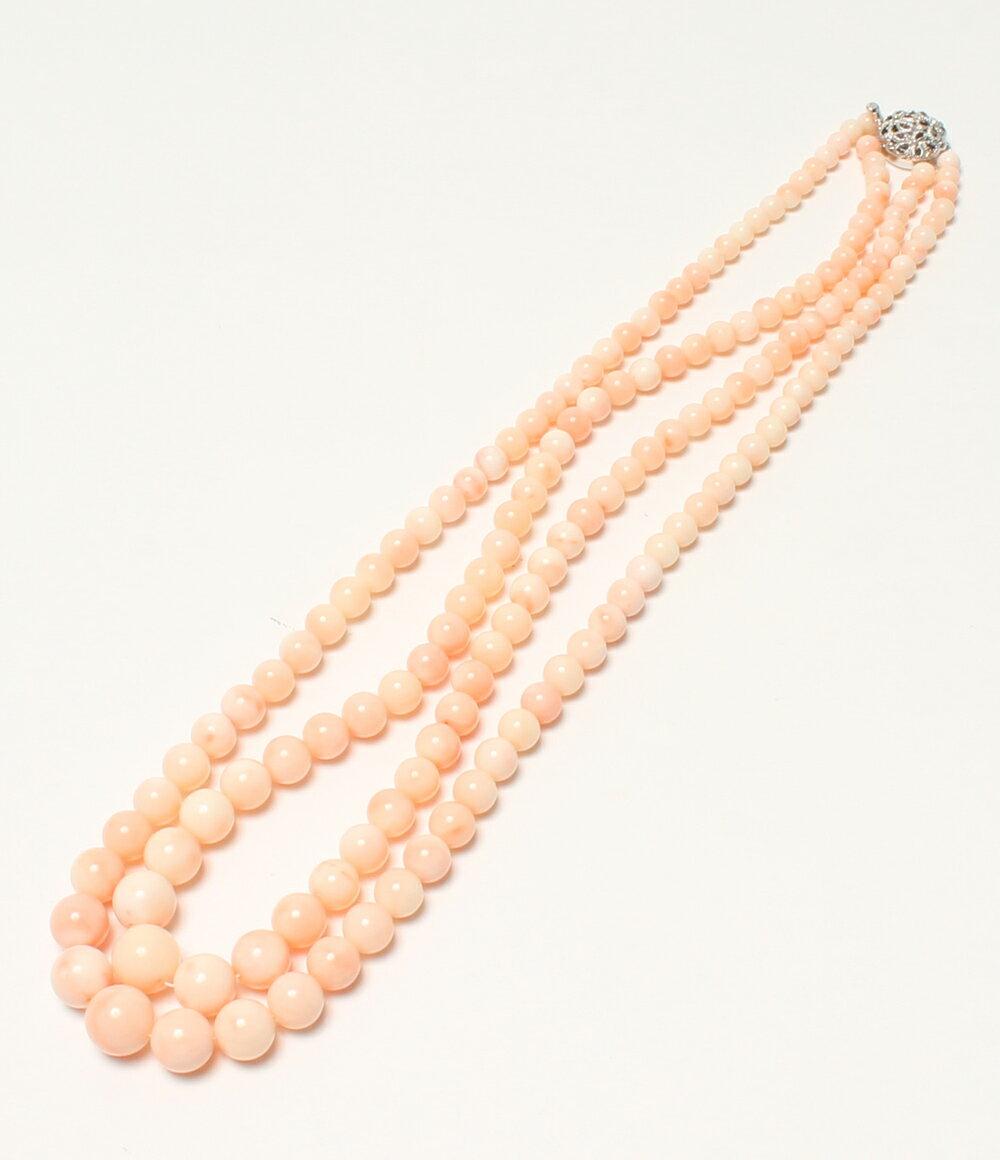 美品 SV 天然 珊瑚 サンゴ 2連 丸玉 11mm ネックレス レディース 【中古】