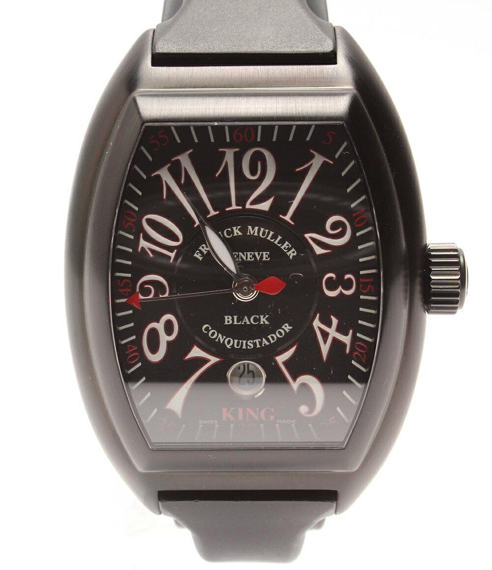 美品 フランクミュラー コンキスタドール キング 8005KSCNR 自動巻き 腕時計 AT ラバーベルト ブラック FRANCK MULLER メンズ 【中古】