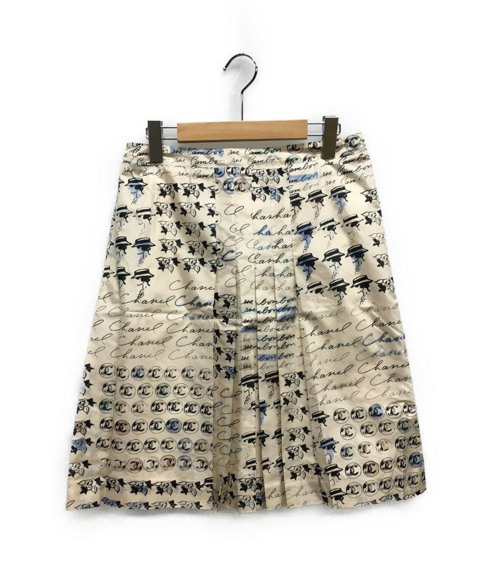美品 シャネル SIZE 42 (L) アイコンプリント シルクスカート 06C CHANEL レディース 【中古】
