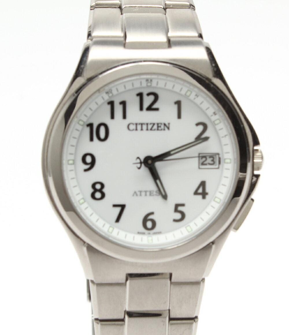 美品 シチズン 腕時計 アテッサ H110-T011331 ソーラー ホワイト CITIZEN メンズ 【中古】