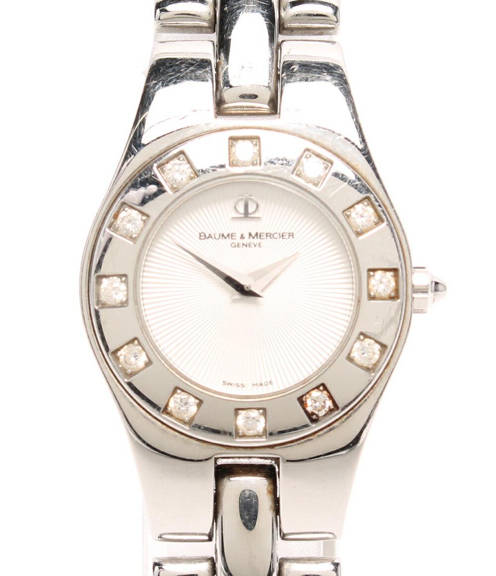 【中古】ボームアンドメルシエ 腕時計 リネア 12Pダイヤ 65338 クォーツ BAUME&MERCIER レディース