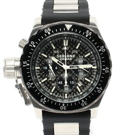 【中古】美品 シーレーン 腕時計 ラバー クロノグラフ クオーツ ブラック メンズ SEALANE