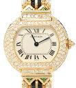 【中古】カルティエ 腕時計 18K オニキス トルマリン エリプス クォーツ レディース Cartier